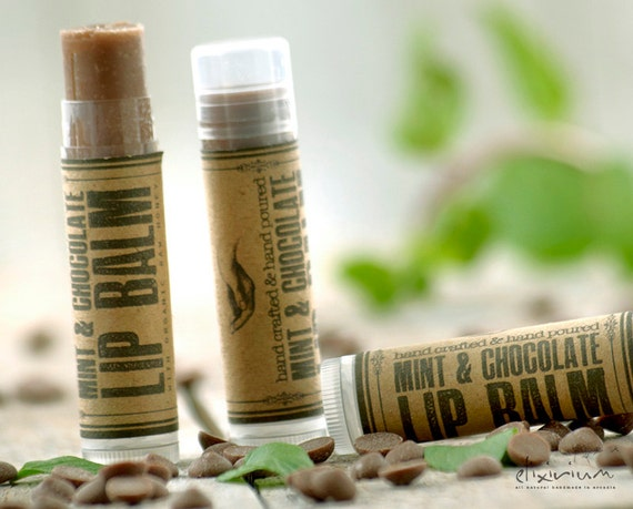 Mint Chocolate LIP BALM ~Mint Chocolate Lip butter~Organic Skin Care~bath and beauty~hand poured lip balm~natural lip balm~rustic lip balm