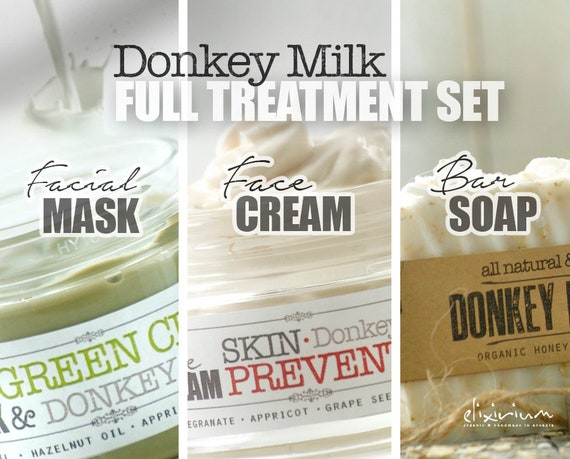 DONKEY MILK Full Set • Organic Total Skin Treatment for anti aging and aging prevention. Organic Facial Care, Organic skincare by  Elixirium