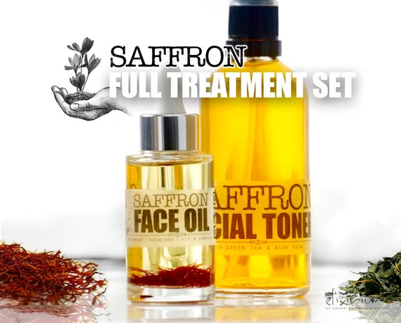 SAFFRON Full Treatment Set • Organic Total Skin Treatment for age fighting. Organic Facial Care, Organic skincare by  Elixirium