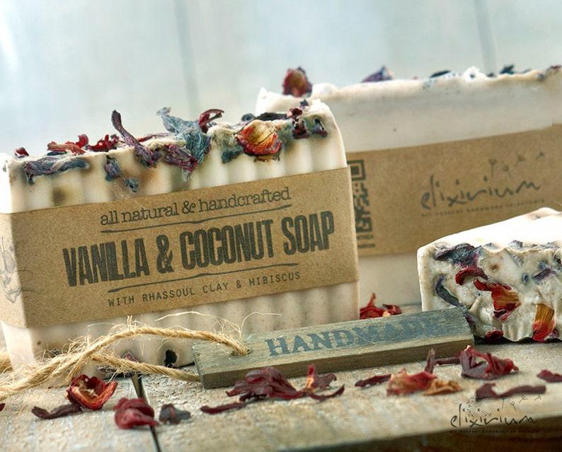 Vanilla Coconut Rhassoul Clay ORGANIC SOAP  Hibiscus flowers image 0