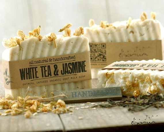 WHITE TEA & JASMINE Goat Milk Soap • Organic Soap, Organic skin care, Bath and Beauty, Rustic, Natural soap, White Tea soap, Jasmine Soap