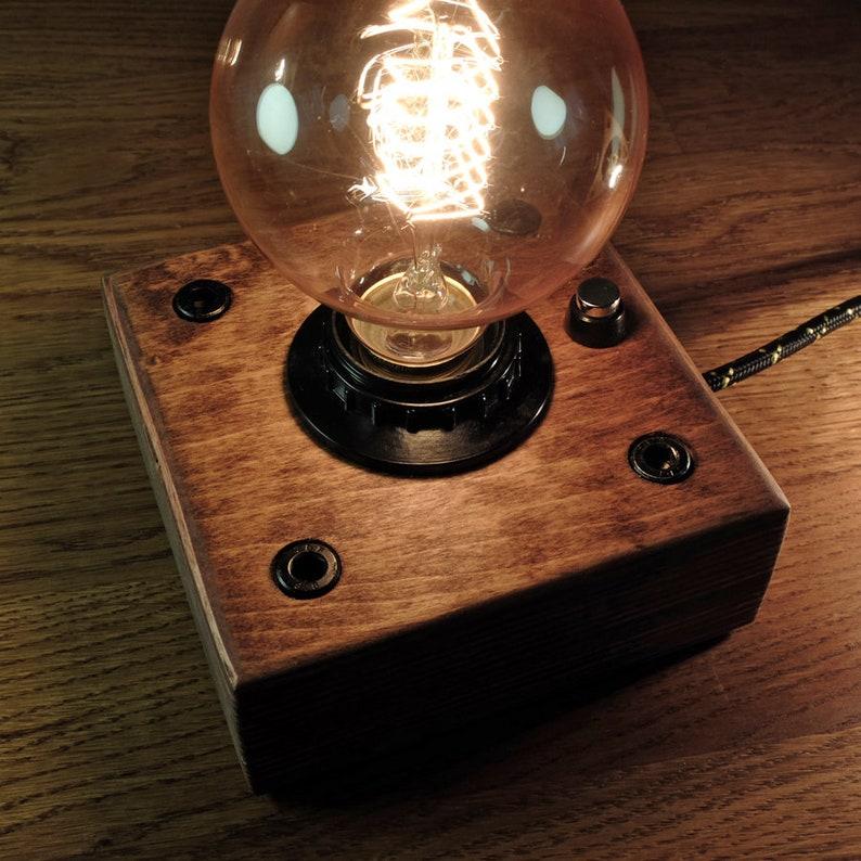 Edison Lamp Industrial  lamp Steampunk  Lamp Night  Lamp  Edison Bulb  Wooden  Lamp