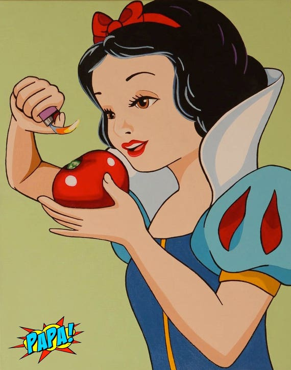 Disney Snow White Smoking Pot From Apple Pop Art By Papa Now Etsy