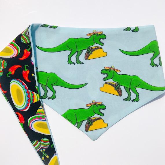 Nouer autour (cravate sur) animaux Bandana taille MED/LARGE - «T-Mex» animaux bandana