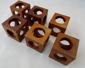 Vintage 1960s Mid Century Teak Wooden Square Napkin Rings -Table Setting - Napkin - Retro