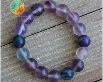 Rainbow Fluorite Bracelet, 10mm Genuine Rainbow Fluorite Matte Bead Bracelet, Gemstone Stretch Bracelet, Womens Bracelet, Natural Stone
