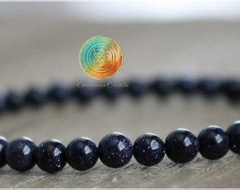 Blue Goldstone Bracelet, 4mm Blue Goldstone, Healing Crystal Bracelet, Goldstone Jewelry, Elastic bracelet, Chakra Stones, Goldstone beads