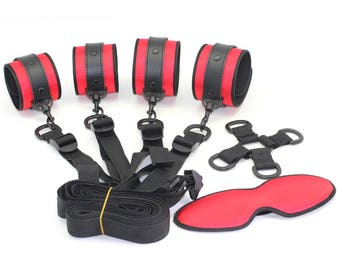 BDSM under the bed restraints, handcuffs, ankle cuffs, 4-way central cross-point and underbed straps, restraints, red satin   (mature)