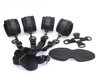 BDSM under the bed restraints, handcuffs, ankle cuffs, 4-way central cross-point and underbed straps, restraints, black satin   (mature)