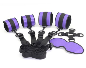 BDSM under the bed restraint,bdsm set, purple satin, handcuffs, ankle cuffs, 4-way central cross-point, underbed straps, restraints (mature)