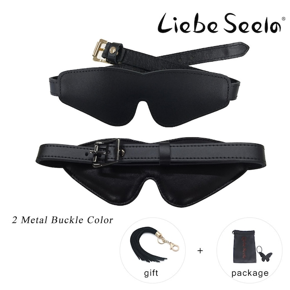 black leather blindfold with silver stud detail