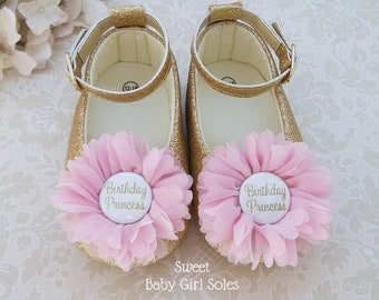 BIRTHDAY PRINCESS Shoes for Pink and Gold Princess First Birthday Outfit d3c38a800c5d