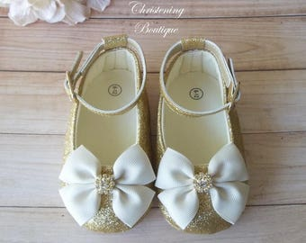 222aeae22575 Ivory and Gold Baby Girl Shoes - Ivory and Gold Flower Girl Shoes - Cream  and Gold Baby Shoes - Ivory and Gold Baby Outfit - Gold Baby Shoes