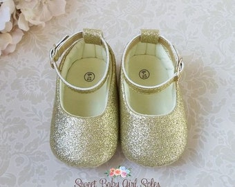 25b3de8bf Gold Baby Shoes - Glitter Baby Shoes - Gold Sparkle Shoes - Gold Baby Girl  Shoes - 1st Birthday Shoes - First Birthday Shoes Girl
