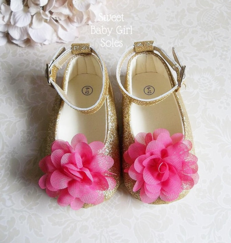 4093c896296c4 First Birthday Outfit Girl Hot Pink, Pink and Gold First Birthday Outfit,  Hot Pink and Gold Baby Shoes, Floral First Birthday Outfit
