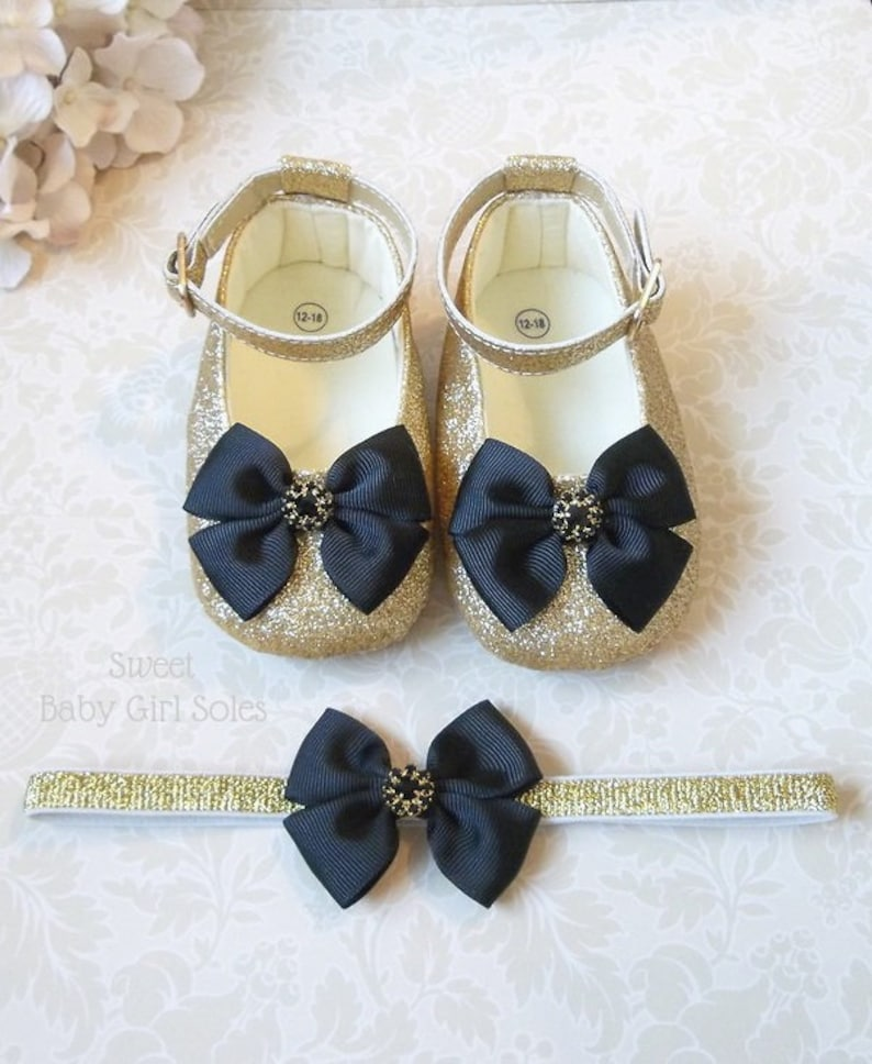 44780420ade7b Black and Gold Shoes for a Black and Gold First Birthday