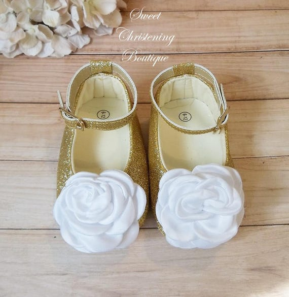 Gold Shoes Flower Girl Shoes White And Gold Baby Shoes Etsy