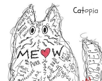 Cat, Cat gift, Gift for Cat Lovers, Feline, Cat Art, Cat Lover Gift, Cat Print, Animal Art, Home Decor, Wall Art, Personalization Gift