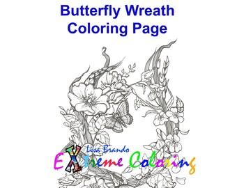 Butterfly Wreath Coloring Page Lisa Brando Extreme