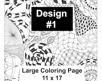 Large Coloring Page 11 X 17 Doodle Zentangle Art Just Print Color And Frame Create Sell Your Own Lisa Brando Extreme