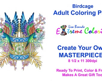 Birdcage Color By Numbers Coloring Page Printable Instant Download Lisa Brando Extreme How To In Adult Books