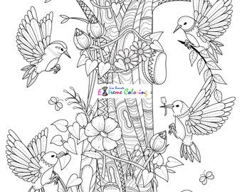 Birds In A Tree Coloring Page