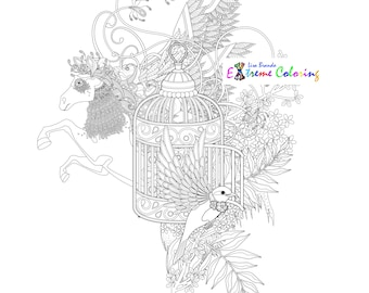 Birds In A Cage Coloring Page Lisa Brando Extreme Instant Download Ready To Color Frame Or Give As Gift