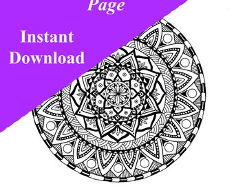 Adult Mandala Coloring Page And Wall Art Print For Anxiety Stress Relief Printable Download By Lisas Secret Garden