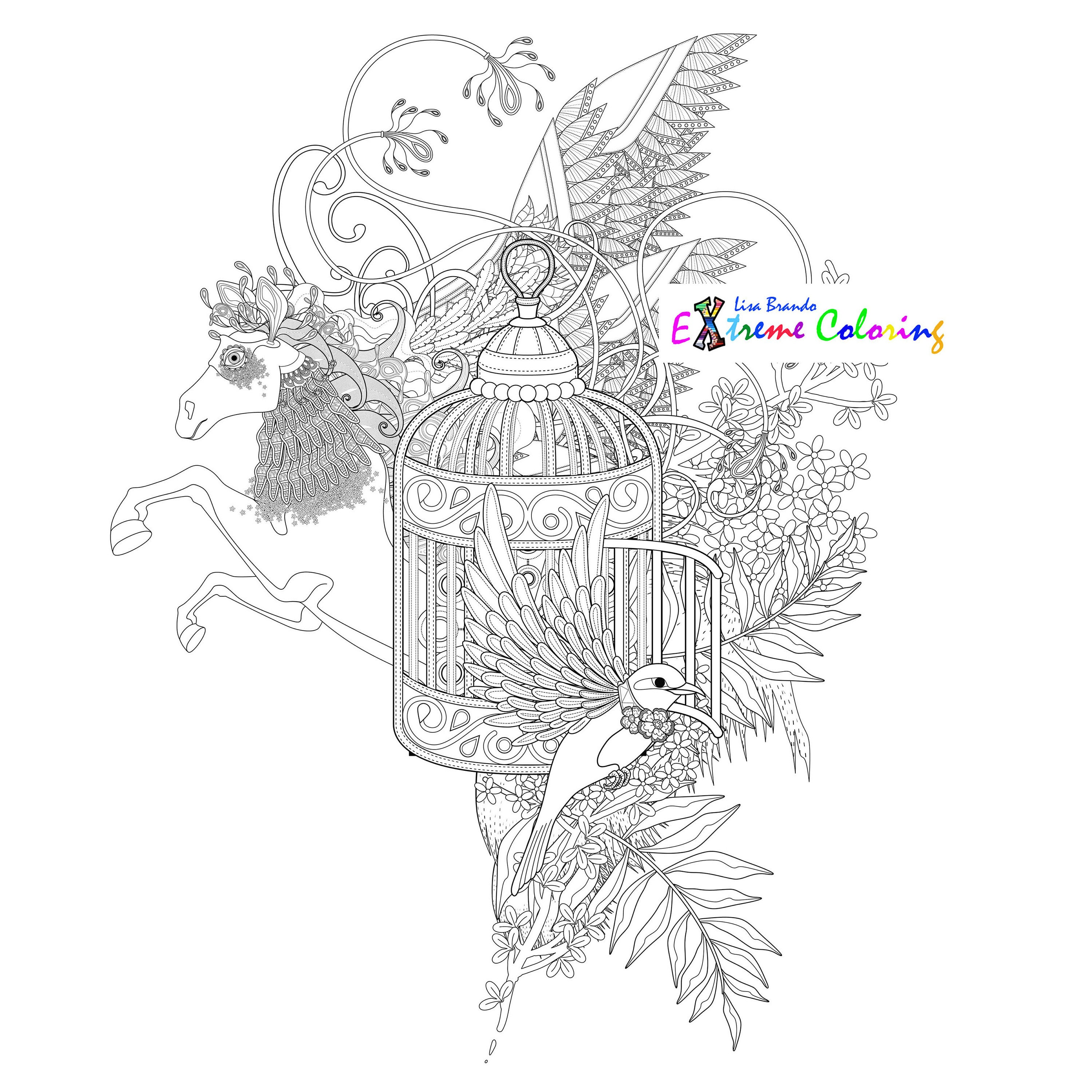 Birds In A Cage Coloring Page Lisa Brando Extreme