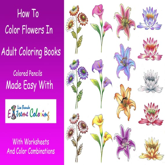 How To Color Flowers In Adult Coloring Books Worksheets Etsy