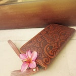 GRACIE Women Clutch / Hand tooled clutch / Boho Clutch / Handmade / leather wallet / Leather Purse / Bohemian