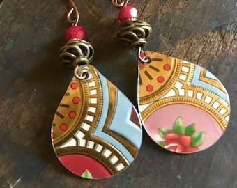 Teardrop Tin Red Bead Earrings Upcycled Repurposed