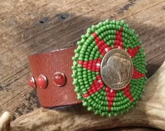 Vintage Beaded Native Medallion Buffalo Nickel Stone Leather Cuff