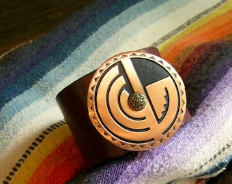 Southwestern Copper Leather Bracelet or Leather Cuff Repurposed Recycled