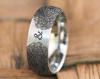 Two Fingerprint Ring Handmade Family Rings Dome Tungsten Mens Promise Ring Friendship Fingerprint Ring Mens His  Her Finger Print