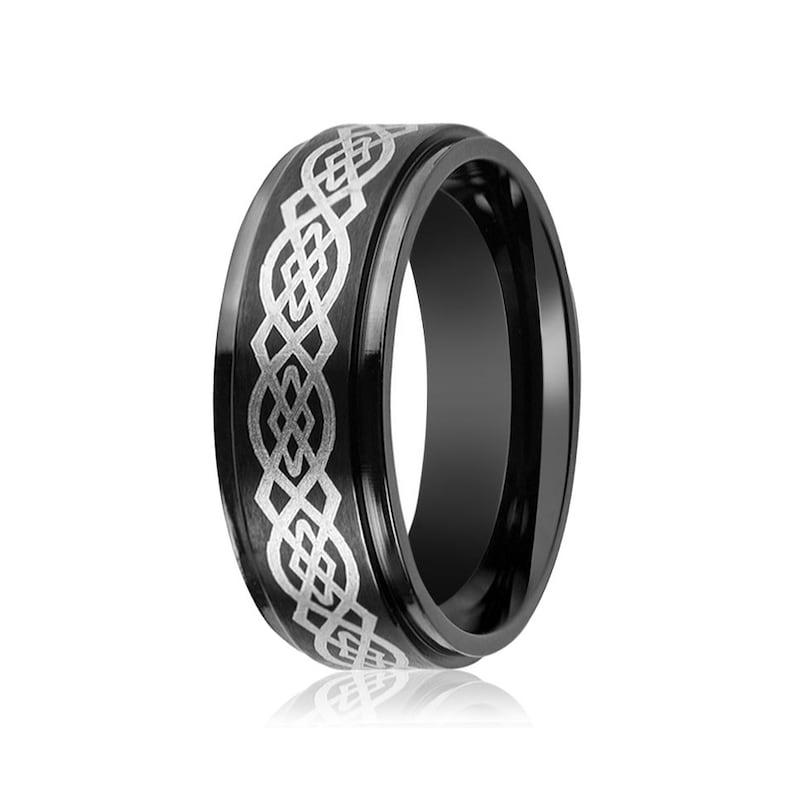 Tungsten Carbide Gold IP Brushed Laser Etched Celtic Knot Design Wedding Ring