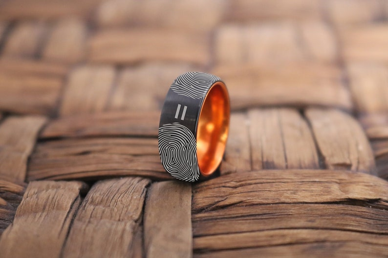 Personalized Ring  Fingerprint Ring Custom Fingerprint image 0