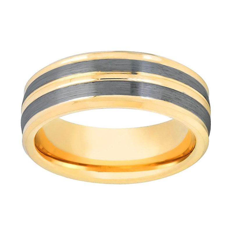 Gold Tungsten Pinstripe /& Gun Metal Finish Tungsten Carbide 8mm Wedding Ring Beveled Edge Tungsten Wedding Band