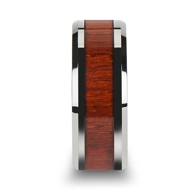 Tungsten Wood Ring Mens Tungsten Ring Padauk Real Wood 8mm Polished Finish 6mm Tungsten Wedding Band 10mm Tungsten Wedding Ring