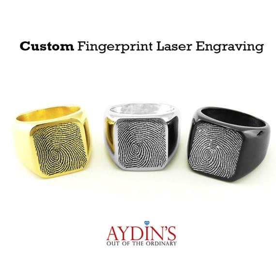 Memorial Ring 13mm Round 925 Sterling Silver Signet Ring Personalized fingerprint Signet Ring Custom Personalized Heart Finger Print