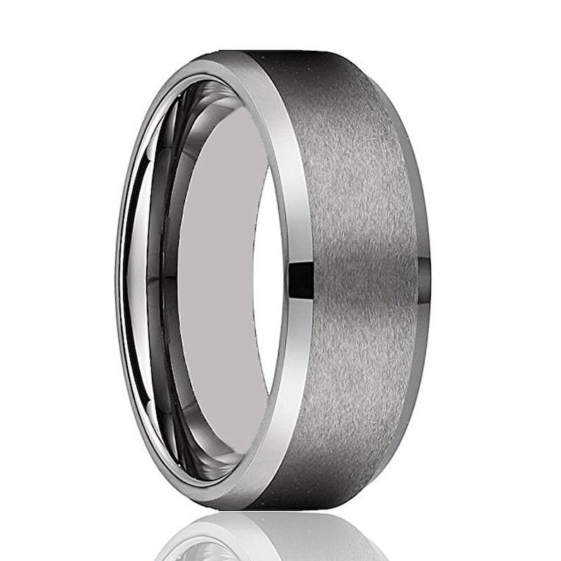 Tungsten Wedding Band Comfort Fit 8mm Tungsten Ring Brushed Tungsten Carbide Ring Men /& Women Grey Tungsten Ring
