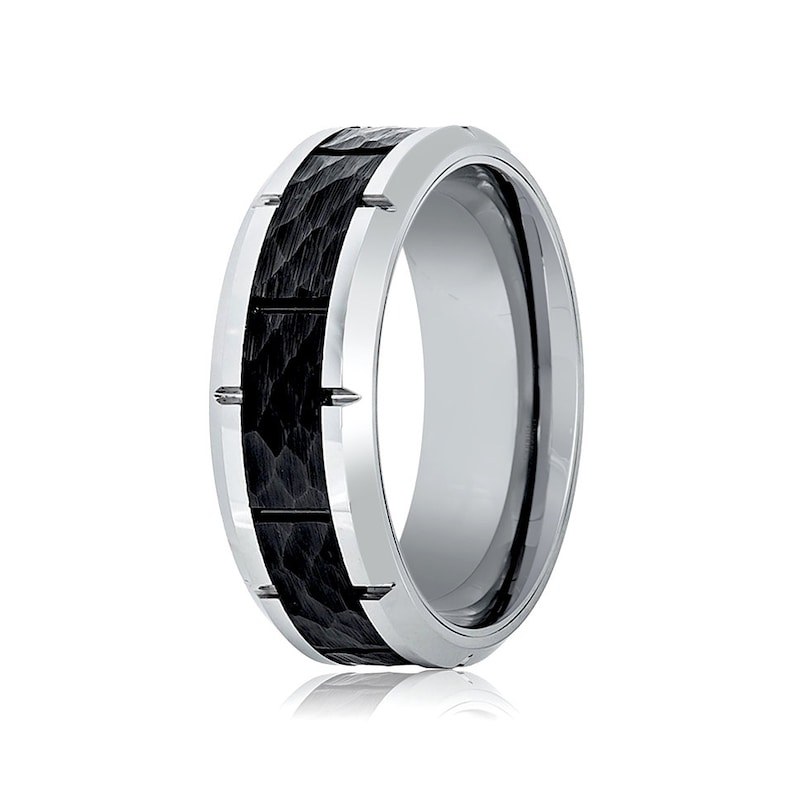Promise and Anniversary Band for Men Tungsten Carbide Wedding Ring Mens Tungsten Ring Black Hammered Tungsten Orange Grooved Wedding Band