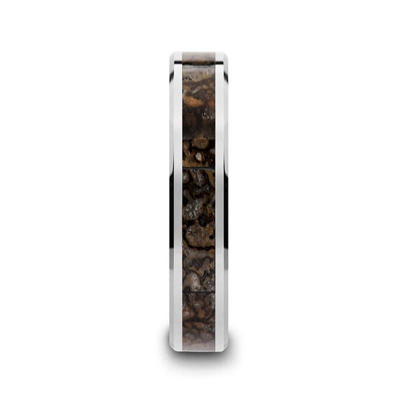 Dinosaur Bone Ring Polished Finish Beveled Tungsten Wedding Band Tungsten Wedding Ring 8mm 4mm Brown Dinosaur Bone Inlay