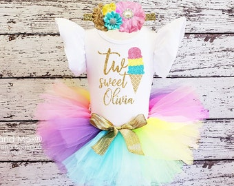 0c0100d12 Ice Cream 2nd Birthday Outfit, Two Sweet rainbow Tutu Outfit, Ice cream two  sweet leotard, Pastel Rainbow birthday outfit,1st birthday girls
