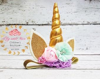 Unicorn headband, pastel colors and gold unicorn headband, unicorn party headband, gold glitter elastic unicorn headband