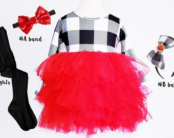 Toddler Baby Girls Christmas Clothes Buffalo Plaid Ruffle Long Sleeve Tulle Lace Skirt Tutu Dress Princess Outfits
