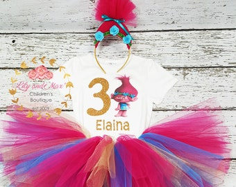 3rd Third 3 birthday Shirt  Personalized  2 Pc Tutu outfit PINK Fast shipping Trolls Poppy Dress +NAME+