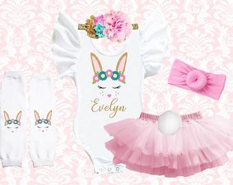 Rabbit tutu tulle skirt headband ears paws tail fancy dress white pink costume cake smash outfit photo shoot dressing up Easter bunny tutu