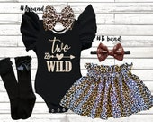 Two Wild birthday girls Outfit, 2nd girls birthday leopard girls birthday set, Wild one birthday outfit, two wild birthday smash cake outfit