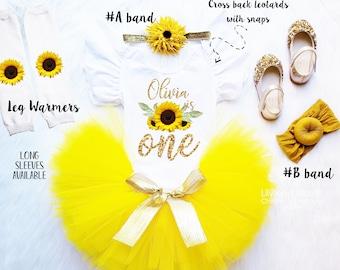 cb8853fbb21a Sunflower Birthday Outfit, Sunflower headband, Sunflower personalized tutu  set, 1st birthday girls outfit set, Sunflower Girls Costume